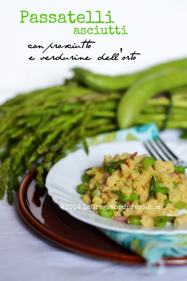 Passatelli asciutti allo zafferano con Prosciutto di Parma e verdurine fresche dell'orto