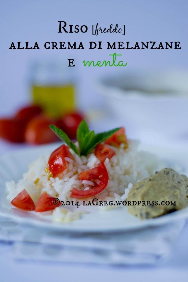 Riso [freddo] alla crema di melanzane e menta per il Recipetionist di giugno